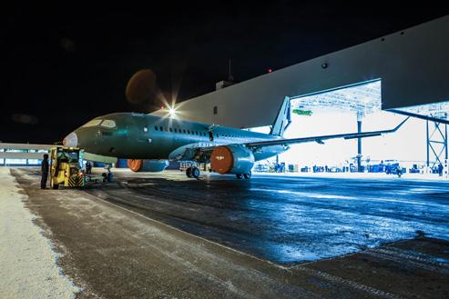 庞巴迪c系列飞机首飞试验机通电